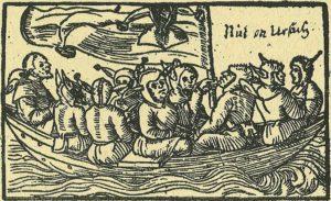 Narrenschiff-(1549)-stultifera-navis-viaje-al-pais-de-los-tontos-grabado-en-madera