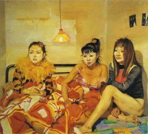 Three girls watching TV-2001-10 de los artistas contemporáneos chinos más sobresalientes