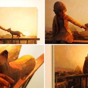 obras que combinan la escultura y pintura de shintaro ohata ok