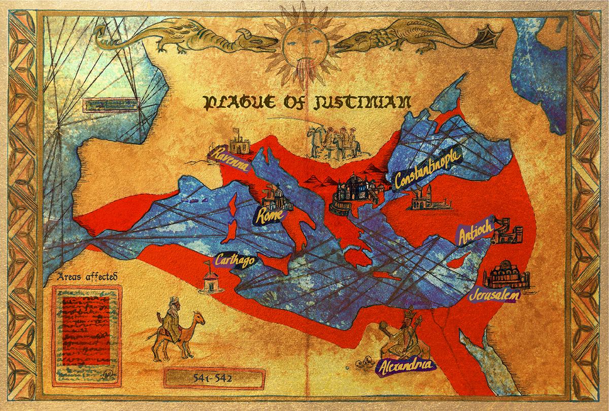 Mapa que muestra el alcance aproximado de la Plaga de Justiniano, una de las primeras pandemias de la historia.
