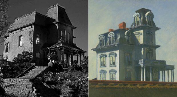 Casa junto a la vía del tren de Edward Hopper en Phsycho de Alfred Hitchcock