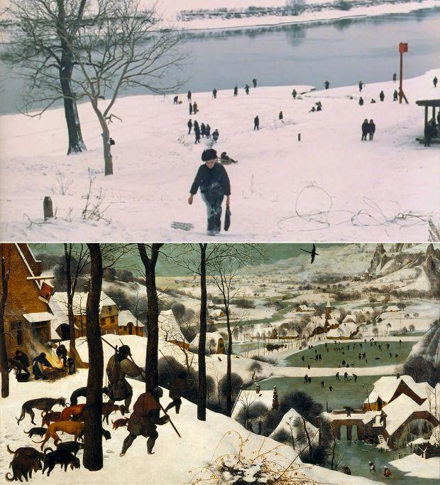 Cazadores en la nieve de Buegel en El Espejo de Andréi Tarkovsky