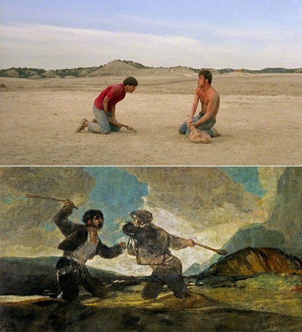 Duelo a garrotazos de Francisco de Goya en Jamón, Jamón de José Juan Bigas Luna
