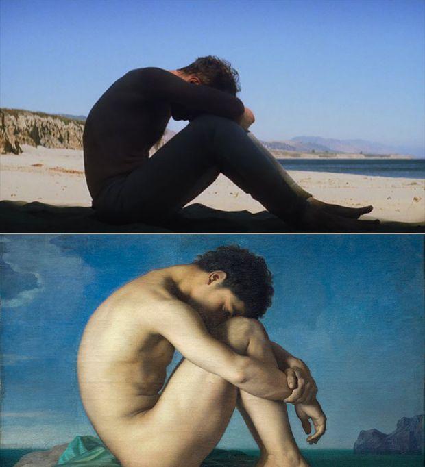 Jeune homme nu assis sur le bord de la mer de Jean Hippolyte Flandrin en Pozos de ambición de Paul Thomas Anderson