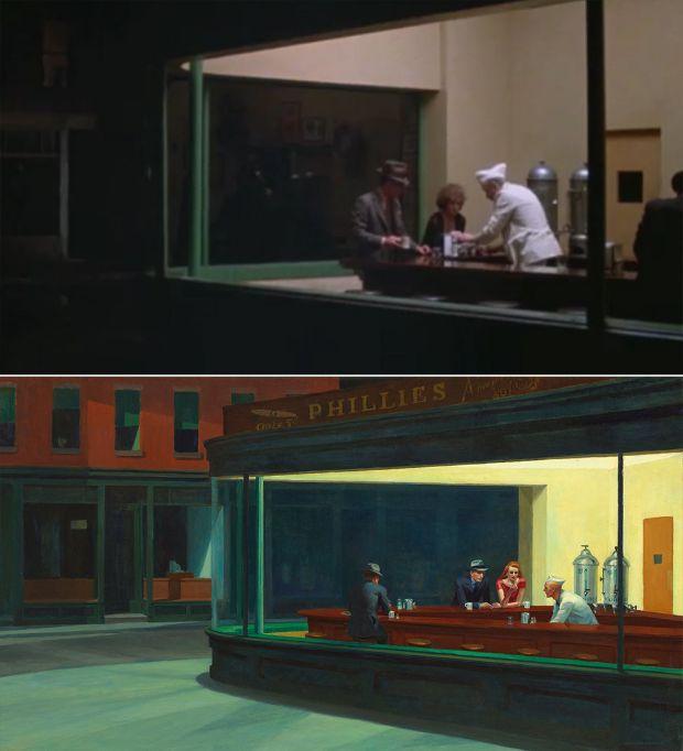 Noctámbulos de Edward Hopper en Dinero Caído del Cielo de Herbert Ross