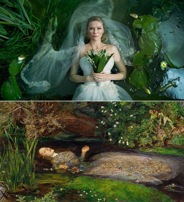 Ophelia de John Everett Millais en Melancholia de Lars Von Trier